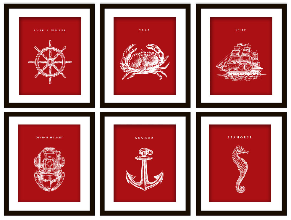 6 Nautical Art Prints, ANY Color (Anchor, Seahorse, Scuba