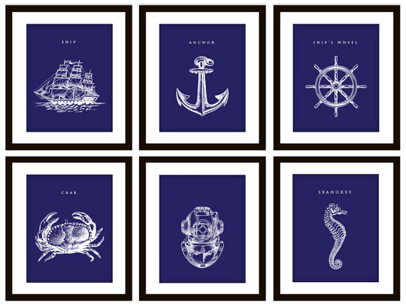 6 blue nautical bedroom or bathroom art prints, any color on luulla