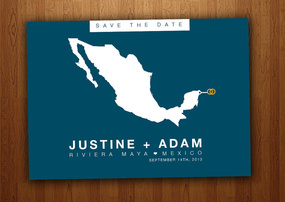 Mexico Save the Date Wedding Printable Postcard
