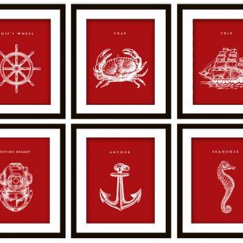 6 Nautical Art Prints, ANY color (Anchor, Seahorse, Scuba Helmet, Crab, Wheel and Ship)